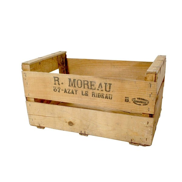 Rustic Antique French Fruit Crate 2 Slat 500mm X 300mm X 270mm