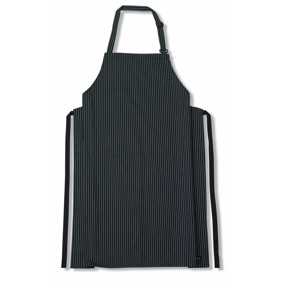 Le chef de46b bib apron woven pinstripe black white cl379
