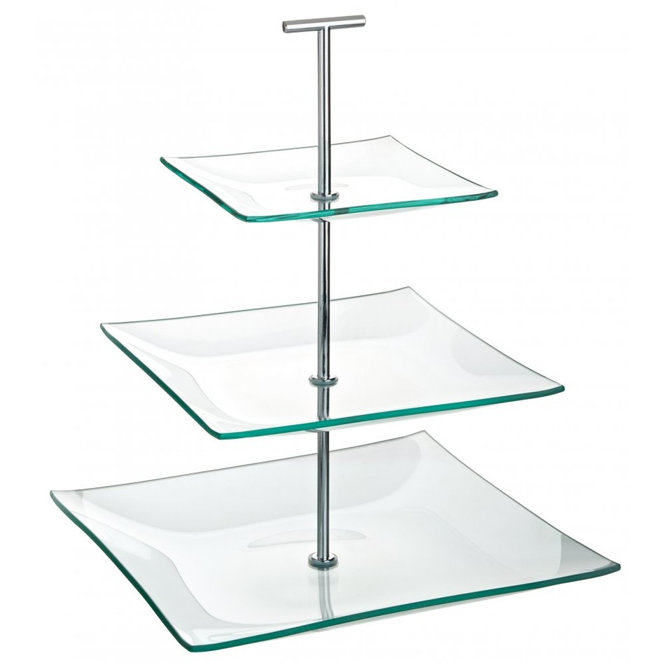Cake Stand Glass 3 Tier Square 24 189 Cm X 20cm X 14 189 Cm