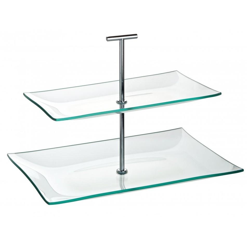 Cake stand glass 2 tier rectangular 30cm x 16cm for Glass 2 glass