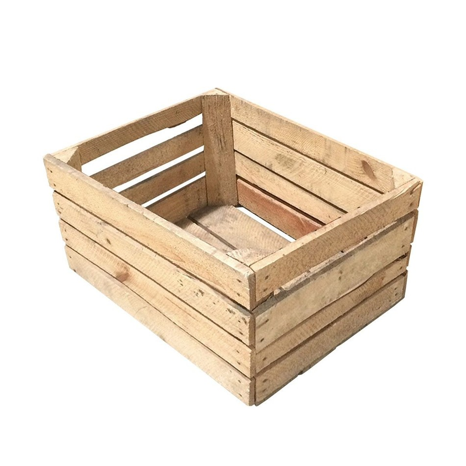 Rustic dutch wooden fruit crate 500mm x 400mm x 310mm for Wooden fruit crates